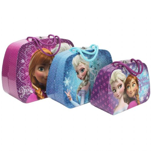 Disney's Frozen Anna & Elsa Set Of 3 Train Cases with Carry Handles